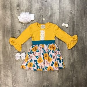 Spring mustard yellow magnolia print dress